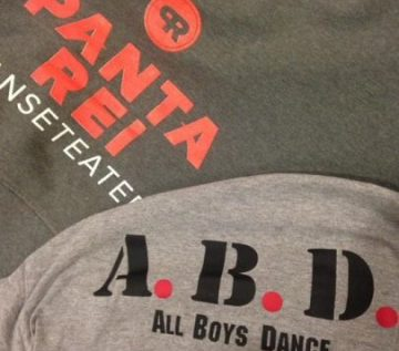 All Boys Dance and Panta Rei Dans Carn to Cove Cornwall 2017 project T-shirts together
