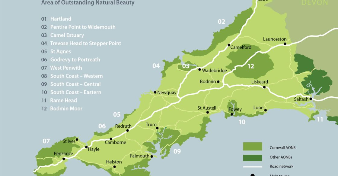 AONB areas map